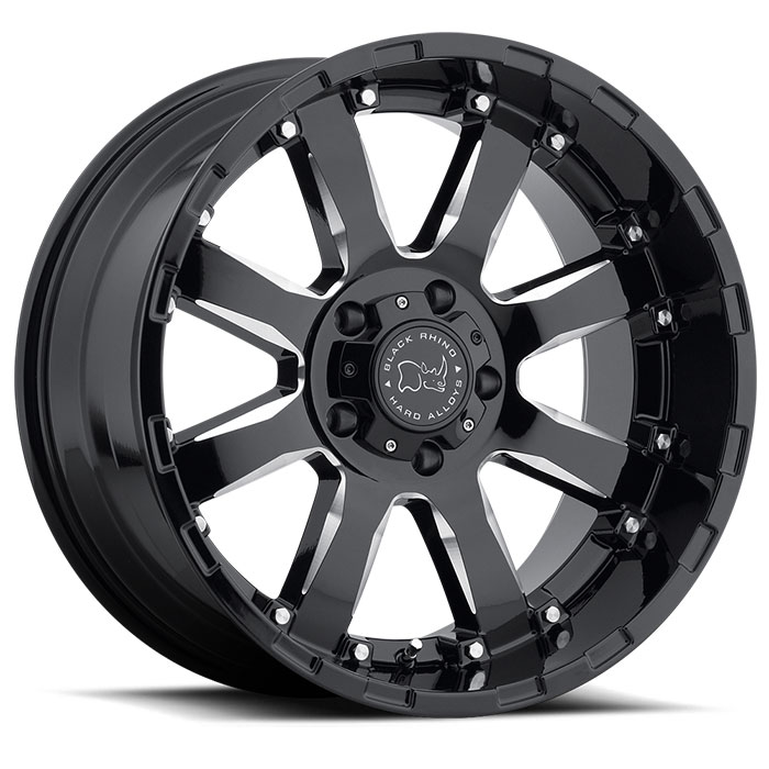 Wheel, Black Rhino Sierra - 20x9 +12MM Gloss Black w/Milled Spokes