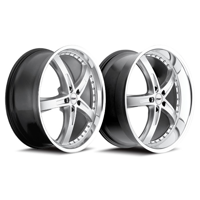 Rim 5x100 with a 35mm Offset and a 72 Hub Bore TSW Jarama 17 Chrome Wheel Partnumber 1780JAR355100C72