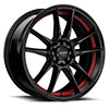 TSW R364 Alloy Wheels Satin Black w/ Red Pin