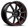 TSW R366 Alloy Wheels Satin Black w/ Red Pin