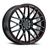 TSW Overdrive Alloy Wheels Gloss Black w/ Red Inner Lip