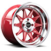 TSW R358 Alloy Wheels Candy Red w/ Machined Center & Lip
