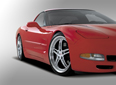 Red Corvette with Scorpion Chrome Wheels  Beauty Shot